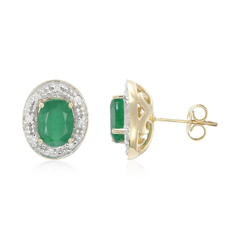 Brasilianischer Smaragd-Goldohrringe (Lance Fischer)