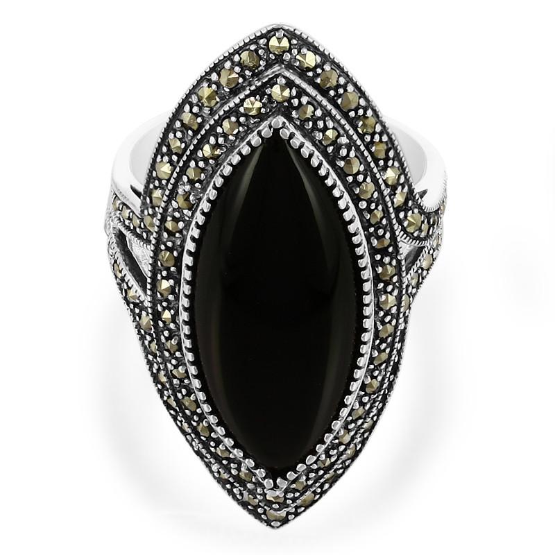 Onyx-Silberring