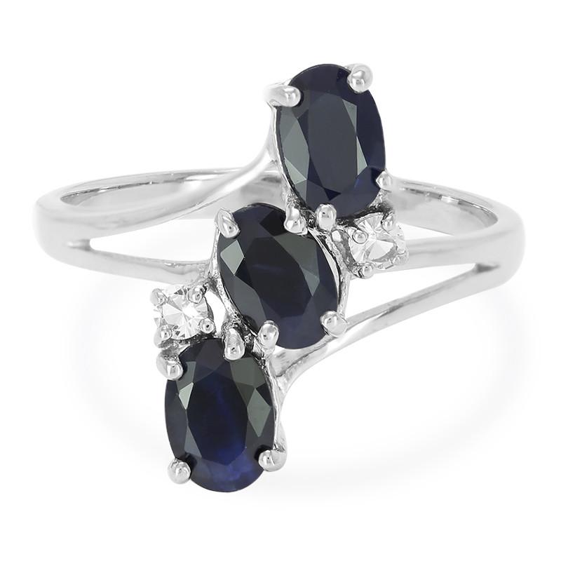 Blauer Saphir-Silberring