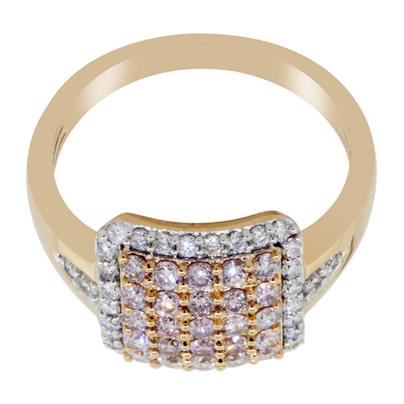 Pinkfarbener Diamant-Goldring