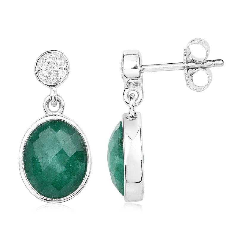 Wählen Sie für neueste neues auf Füßen Aufnahmen von Smaragd-Silberohrringe-7041DS   Juwelo Schmuck