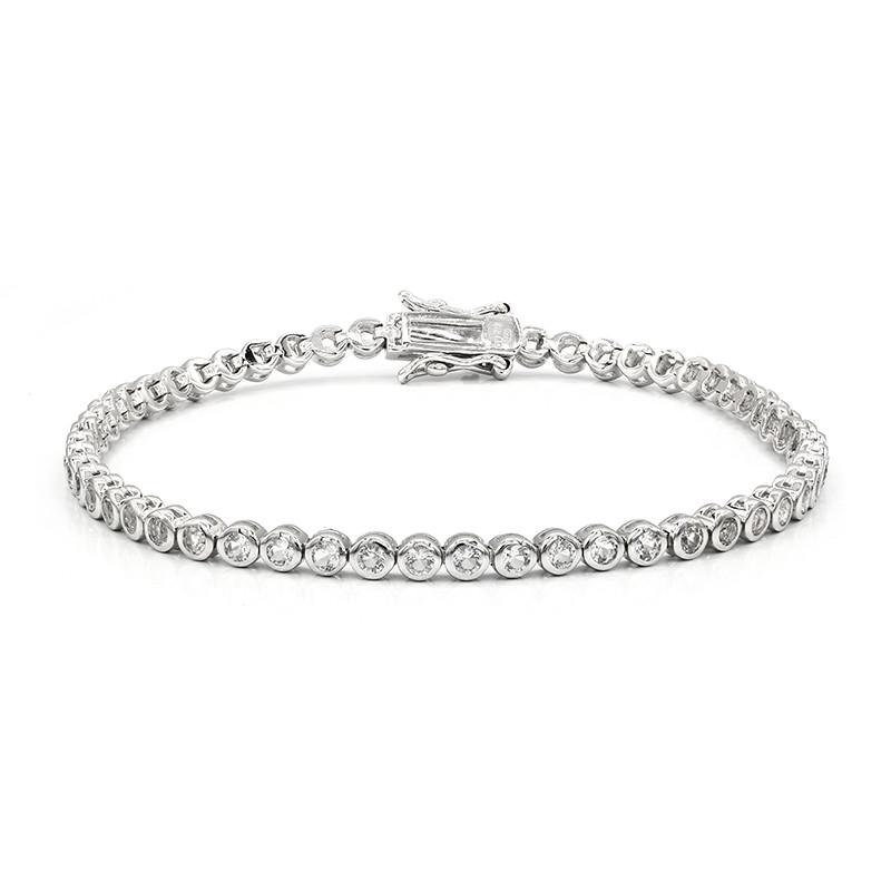 Weißer Topas-Silberarmband
