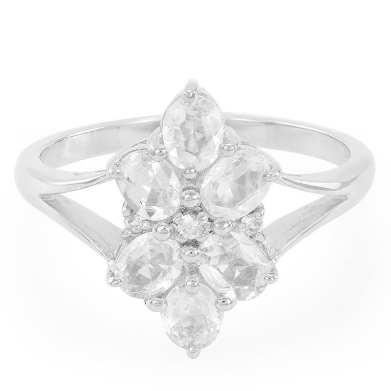 Weißer Saphir-Silberring