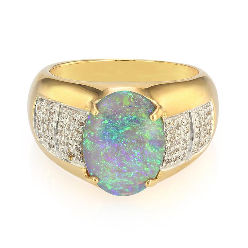 Lightning Ridge Schwarzer Crystal Opal Goldring 5648KB