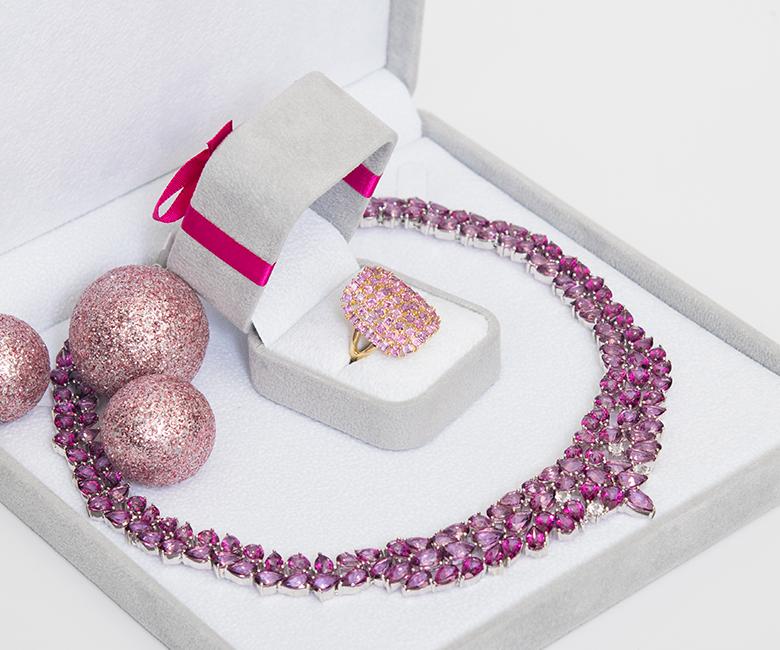 Trauben Topas-Silber-Collier und Ring in Schmuckbox