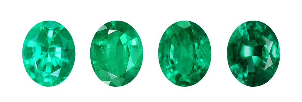 Unterschiedliche Qualitätsstufen eines Russischen Smaragds