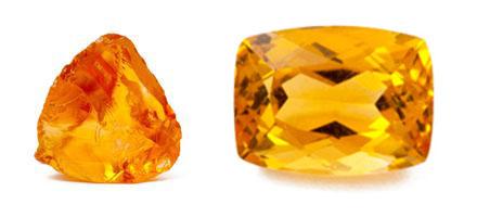 Citrin - Rohkristall und geschliffen