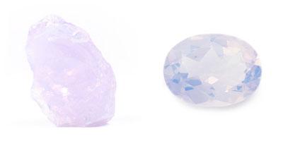 Lilien-Quarz - Rohkristall und geschliffen