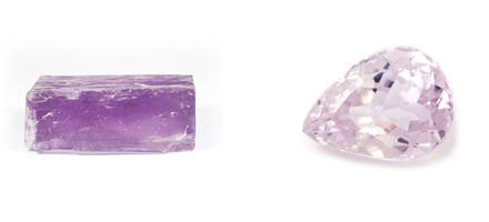 Kunzit - Rohkristall und geschliffen