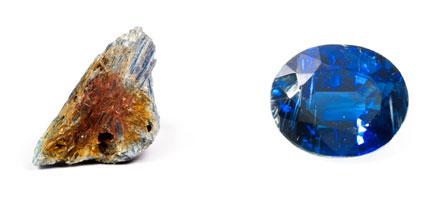 Kyanit - Rohkristall im Muttergestein und geschliffen