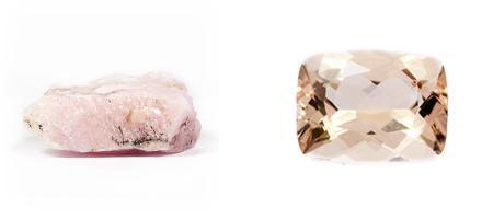 Morganit - Rohkristall und geschliffen