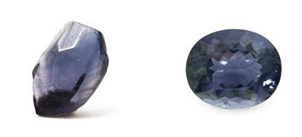 Blaubeerquarz - Rohkristall und geschliffen