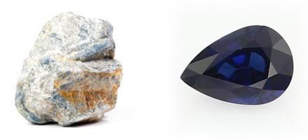 Saphir - Rohkristall und geschliffen